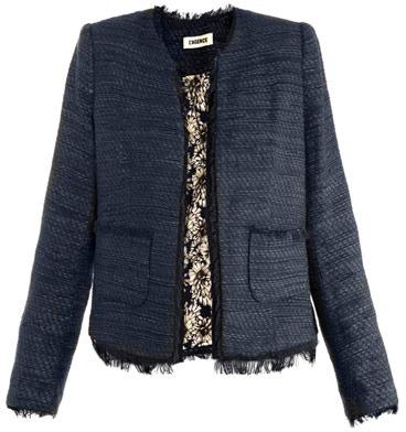 L'Agence Tweed collarless jacket