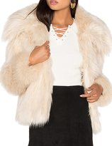 HaoDuoYi Womens Solid Long Sleeve Warm Lapel Soft Faux Fur Short Coat(M,)