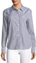 Equipment Brett Striped Button-Front Embroidered Shirt
