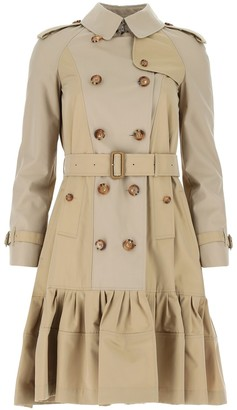 Burberry Gathered Detail Gabardine Trench Coat