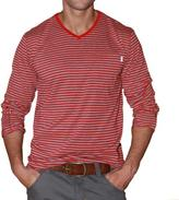 191 Unlimited Men's Red Stripe V-neck Shirt
