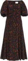 Erdem Mariona Leopard Print Silk Midi Dress