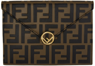 Fendi Brown and Black Forever Envelope Pouch