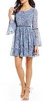 Xtraordinary Paisley Print Bell-Sleeve Babydoll Dress