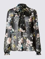Marks and Spencer Floral Print Long Sleeve Blouse