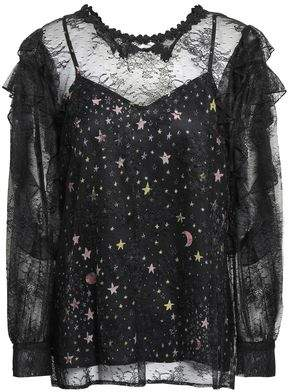 Boutique Moschino Layered Chantilly Lace And Printed Satin Blouse