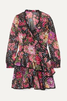 Needle & Thread Metallic Floral-print Fil Coupe Chiffon Wrap Dress - Black