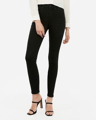 Express High Waisted Denim Perfect Curves Black Ankle Skinny Jeans