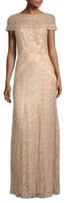 Tadashi Shoji Boatneck Sequin Evening Dress