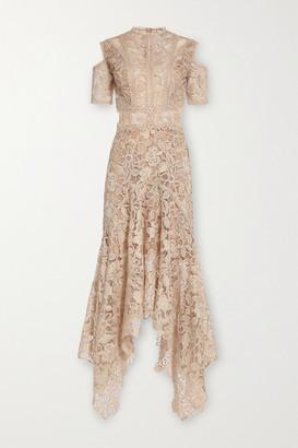 Costarellos Stasa Cutout Guipure Lace Dress - Beige