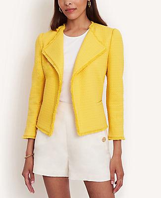 Ann Taylor Petite Tweed Puff Sleeve Open Jacket