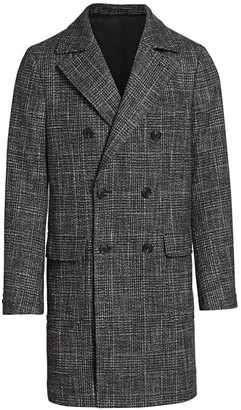 Saks Fifth Avenue COLLECTION Plaid Wool-Blend Double-Breasted Top Coat