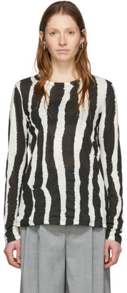 Proenza Schouler Black and White Printed Zebra T-Shirt