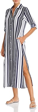Tommy Bahama Tan Lines Striped Midi Dress Swim Cover-Up