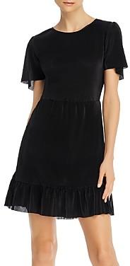 Aqua Pleated Ruffled Flutter-Sleeve Dress - 100% Exclusive