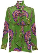 Gucci Long Sleeve Tie Neck Printed Blouse