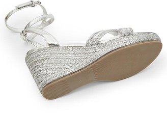 Ted Baker Laelia Ankle Strap Wedge Sandals - Silver