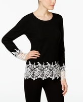 INC International Concepts Petite Lace-Trim Sweater, Created for Macy's