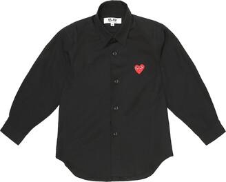 Comme Des Garçons Play Kids Heart logo cotton-poplin shirt