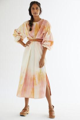 Maria Bouvier Tie-Dye Midi Dress By Maria Bouvier in Pink Size L