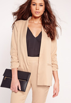 Missguided Gathered Sleeve Tailored Blazer Suit Nude