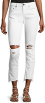 Rag & Bone Dre Distressed Mid-Rise Capri Jeans, White