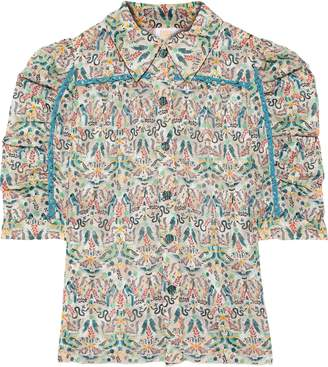 Anna Sui Ruched Printed Fil Coupe Shirt