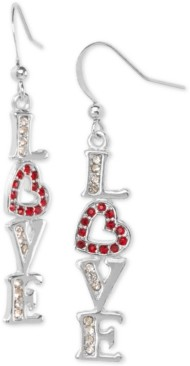 Charter Club Holiday Lane Silver-Tone Pave Love Drop Earrings, Created for Macy's