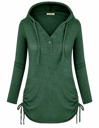 Cyanstyle Women's Long Sleeve Henley V-Neck Button Sweatshirt Tunic Hoodies Casual Pullover with Drawstring Deep Grey XL