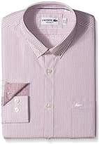 Lacoste Men's Long Sleeve with Pocket Poplin Mini Stripe Regular Fit Woven Shirt, CH9619