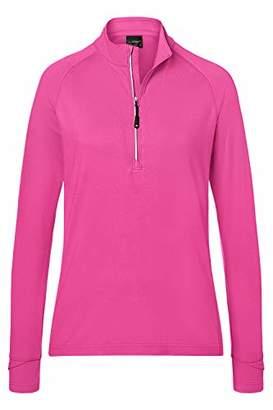 James & Nicholson Women's Ladies' Sports Shirt Half-Zip Long Sleeve Top, Pink, (Size: Large)