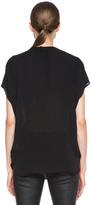Vince Silk Placket Blouse in Black