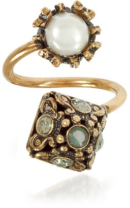 Alcozer & J Pyramid and Pearl Ring w/Gemstones
