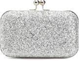 Women's Chunky Glitter Clutch -Silver Metallic