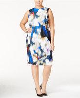 Calvin Klein Plus Size Floral-Print Scuba Sheath Dress