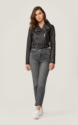 Soia & Kyo CLODIA cropped leather moto jacket