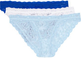 Hanky Panky Signature Set Of Three Stretch-lace Brazilian Briefs - Sky blue