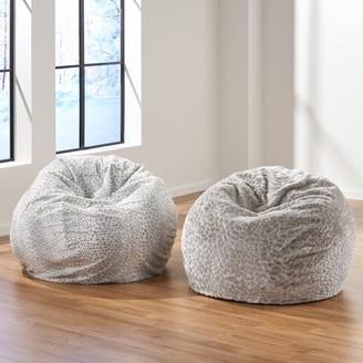 Noble House 3' Faux Fur Bean Bag Chair, Silver Dusk