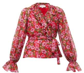 Borgo de Nor Alix Ruffled Floral-print Muslin Blouse - Red Print