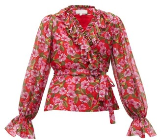Borgo de Nor Alix Ruffled Floral-print Muslin Blouse - Womens - Red Print