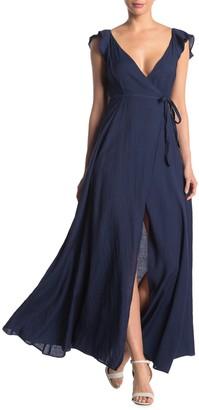 Mustard Seed Flutter Sleeve Wrap Maxi Dress