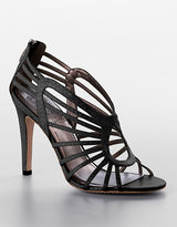 Solana Strappy Snake-Embossed Stiletto Sandals