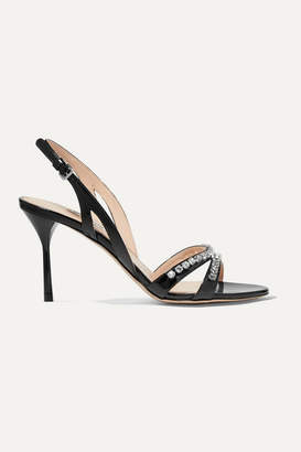 Miu Miu Crystal-embellished Patent-leather Slingback Sandals - Black