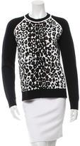 A.L.C. Leopard Print Crew Neck Sweater