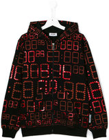 Moschino Kids zip front printed hoodie
