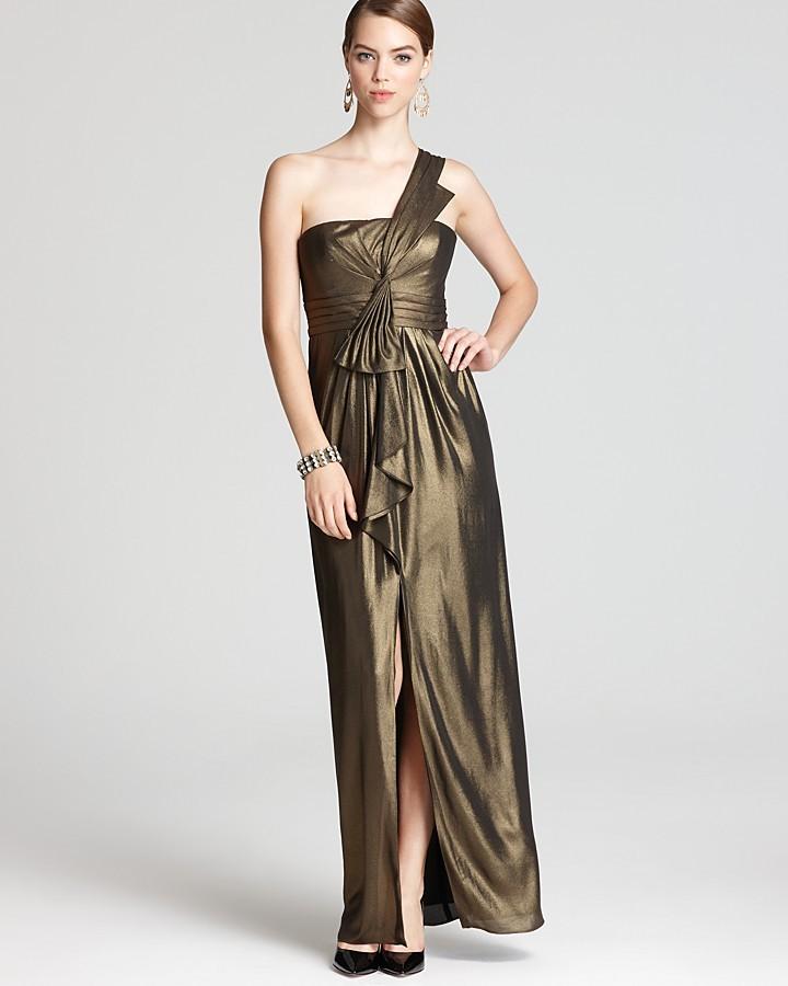 BCBGMAXAZRIA One Shoulder Gown - Barbara Metallic