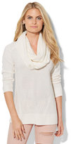 New York & Co. Mixed-Stitch Sweater with Detachable Scarf