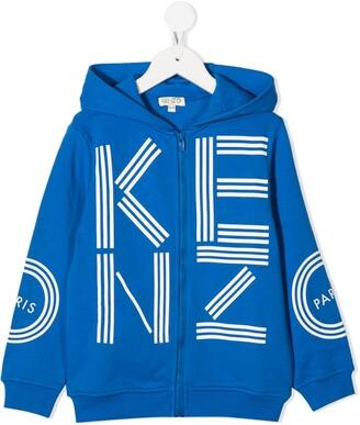 Kenzo Kids Logo-Print Zip-Up Hoodie