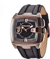 Police 13895jsqbr02 46mm Stainless Steel Case Brown Calfskin Men's Watch