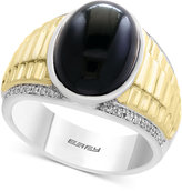 Effy Men's Onyx (5-5/8 ct. t.w.) and Diamond (1/10 ct. t.w.) Two-Tone Ring in Sterling Silver